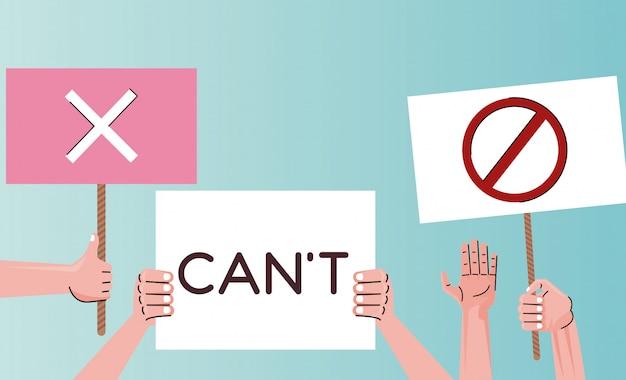 Les mains des gens qui protestent contre la pancarte de levage avec le mot de cant et le symbole d'arrêt
