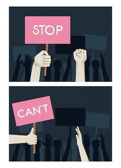 Les mains des gens qui protestent contre une pancarte de levage avec des scènes de mots d'arrêt et de cantonnement