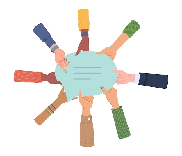 Mains de gens tenant un message de discussion ou une bulle de dialogue vecteur isolé groupe diversifié d'hommes et de femmes