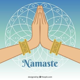 Mains avec un geste namaste