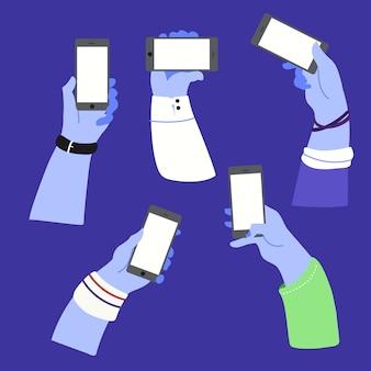 Mains geste tenant illustration de téléphone intelligent plat