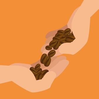 Mains avec des grains de café