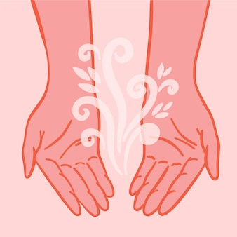 Mains de guérison énergétique design plat avec élément floral
