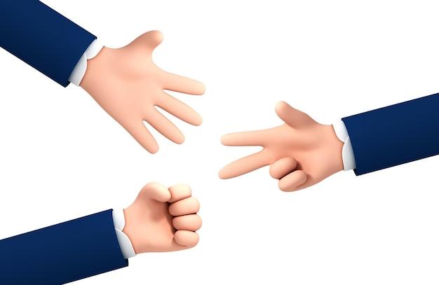 Les mains d'homme d'affaires de dessin animé de vecteur jouent le jeu de ciseaux de papier de roche d'isolement sur le fond blanc. processus de jeu de main de ciseaux de papier de roche. ensemble de gestes de la main.
