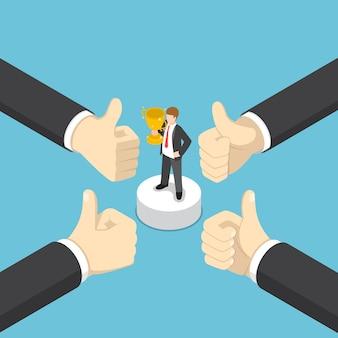 Les mains d'un homme d'affaires isométrique plat 3d montrent le geste du doigt vers le haut pour le gagnant de l'entreprise. concept de réussite commerciale.