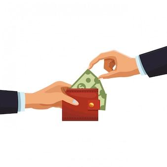 Mains d'hommes d'affaires avec de l'argent dans le portefeuille
