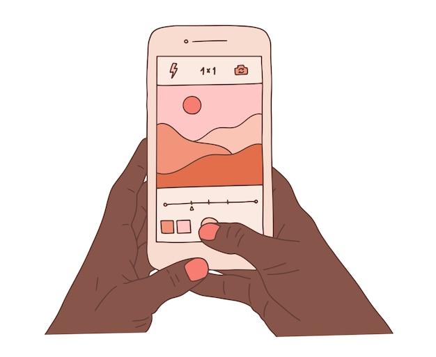 Mains humaines africaines tenant un smartphone et prendre de belles photos de paysages naturels. prise de photo de paysage illustration de dessin animé plat coloré.