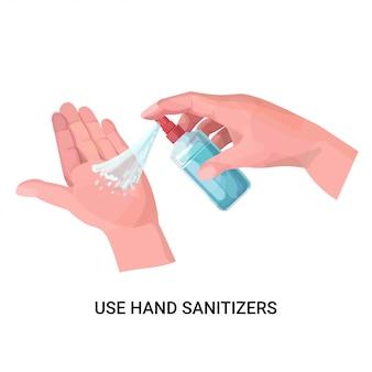 Mains humaines appliquant une désinfection par pulvérisation antibactérienne contre les bactéries virales arrêtent le concept de désinfectant pour les mains