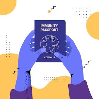 Mains humaines dans des gants tenant un passeport d'immunité mondiale sans risque de réinfection covid-19 certificat pcr concept d'immunité coronavirus illustration vectorielle