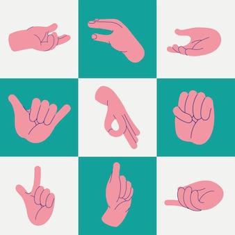 Les mains humaines ont défini neuf gestes