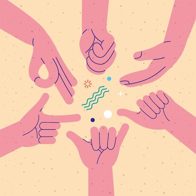 Les mains humaines ont défini six gestes