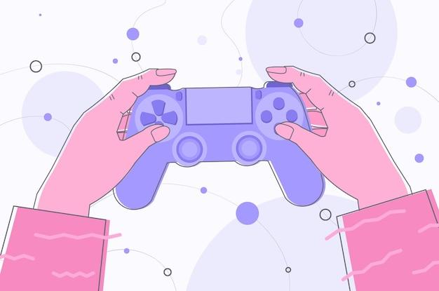 Mains humaines tenant le contrôleur de manette de jeu sans fil jeu e-sports loisirs industrie du jeu
