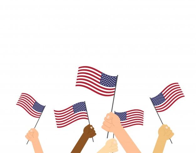 Mains humaines, tenue, drapeaux, usa