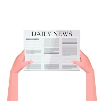 Mains humaines, tenue, journal, lecture, journal quotidien, presse, mass média, concept, isolé, illustration