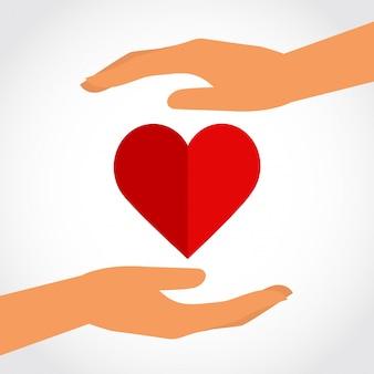 Mains avec icône de coeur