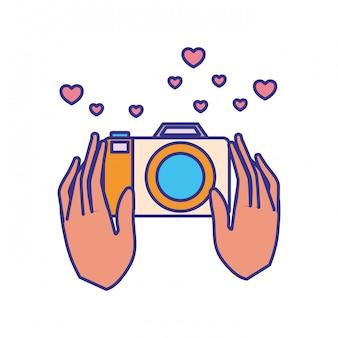 Mains avec icône isolé d'objets de photographie