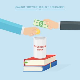 Mains avec illustration d & # 39; argent et de livres