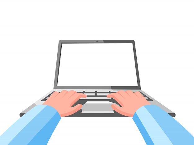 Mains sur l'illustration de l'ordinateur portable