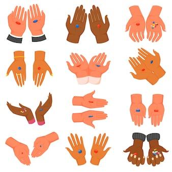Mains avec illustration de pilules rouges et bleues tenant des médicaments dans les pulms, concept de choix icônes isolées sur blanc
