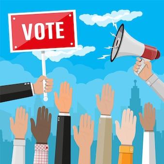 Les mains levées. les gens votent les mains.