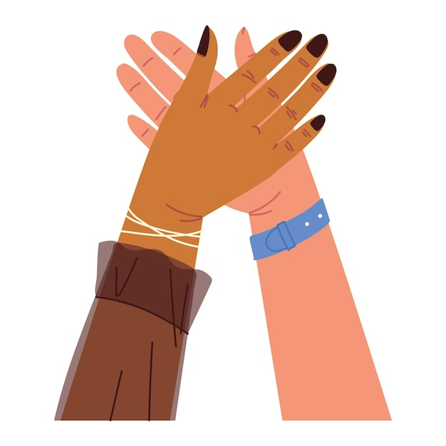 Les mains levées se touchent