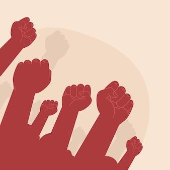 Les mains levées en signe de protestation