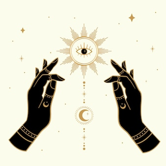 Mains magiques dessinées avec le soleil et la lune