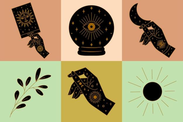 Mains magiques et illustrations de sorcellerie dans le vecteur