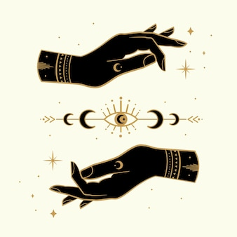 Mains magiques avec symboles ésotériques et étoiles