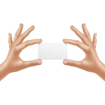 Mains mâles de vecteur tenant une carte vierge isolé sur fond blanc