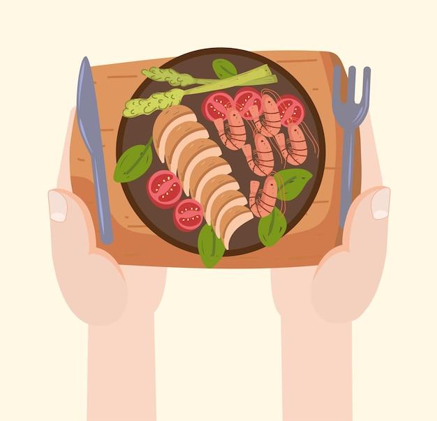 Mains avec menu sain