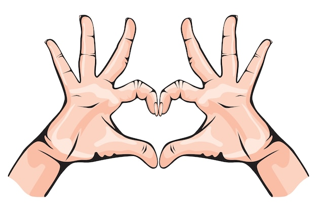 Mains montrant le coeur