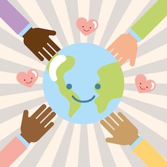 Mains multiethnique monde kawaii amour don de charité