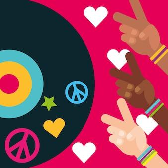 Mains multiraciales paix et amour disque vinyle esprit libre
