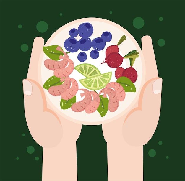 Mains avec de la nourriture saine