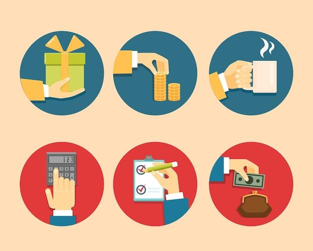 Mains avec des objets, illustration vectorielle design plat