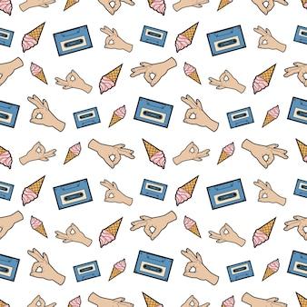 Mains ok ruban et modèle sans couture de crème glacée. fond de mode dans un style bande dessinée rétro. illustration