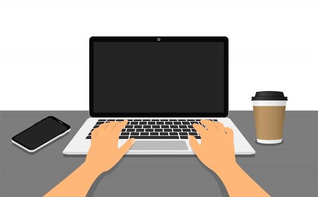 Mains sur un ordinateur portable. travaillez sur l'ordinateur portable. lieu de travail. style plat.