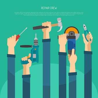 Mains avec outils