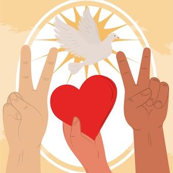 Mains paix et amour
