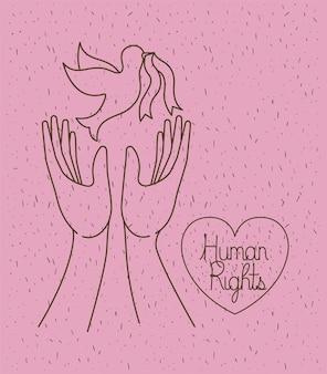 Mains avec la paix du monde colombe