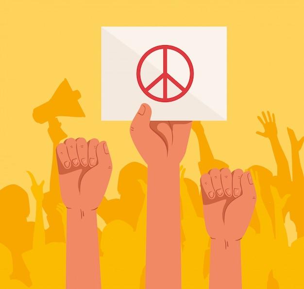 Mains avec des pancartes de protestations, activiste avec signe de manifestation de grève, concept de droit de l'homme