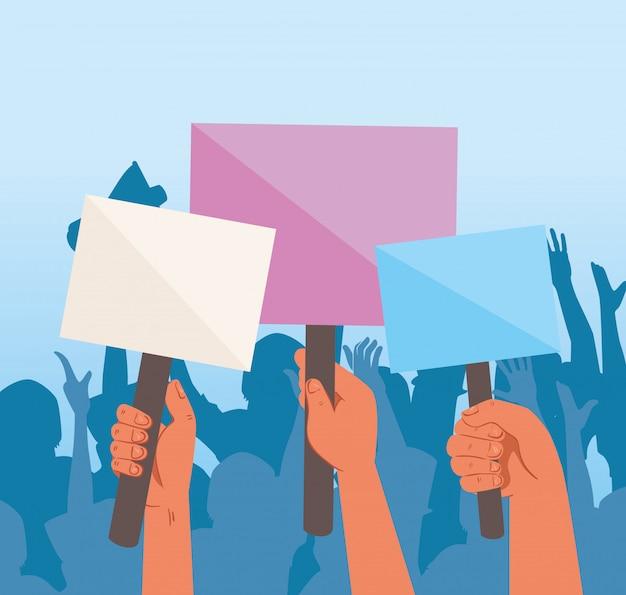 Mains avec des pancartes de protestations, tenant des bannières, activiste avec signe de manifestation de grève, concept de droit de l'homme