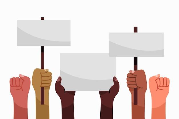 Mains avec des pancartes