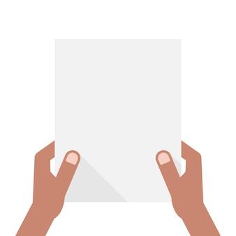 Mains à la peau foncée tenant une feuille de papier. concept d'avis, invitation, titre, a4, liste de contrôle, note, affichage, interface utilisateur, test. illustration vectorielle de style plat tendance design moderne sur fond blanc