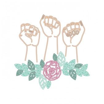 Mains avec personnage avatar de fleurs