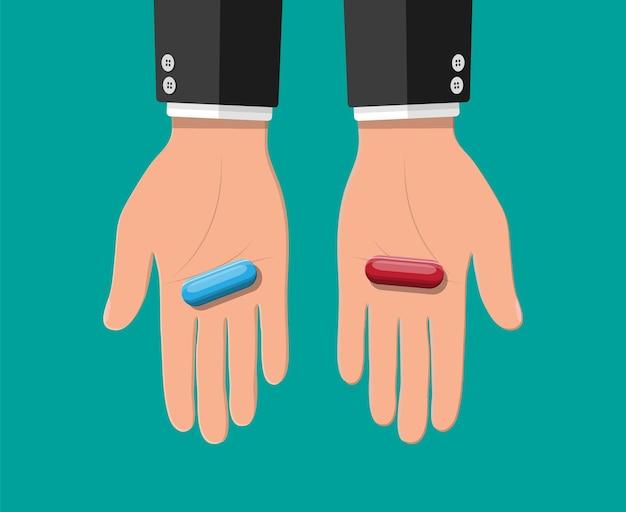 Mains avec des pilules capsules bleues et rouges. métaphore du choix ou de la décision. médicaments en main. illustration vectorielle dans un style plat