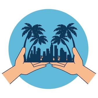 Mains avec plage paysage urbain scène vecteur illustration design