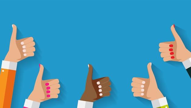 Mains avec les pouces vers le haut, geste et fond. concept de médias sociaux