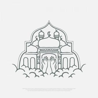 Les mains prient à la mosquée